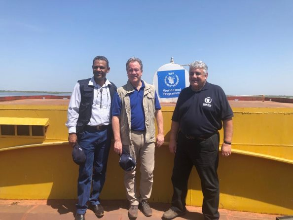 WFP:Photo/photogallery, Hameed Nuru Country Director WFP Sudan, David Beasley WFP Executive Director, Amir Abdulla WFP DED in Kosti, Sudan.