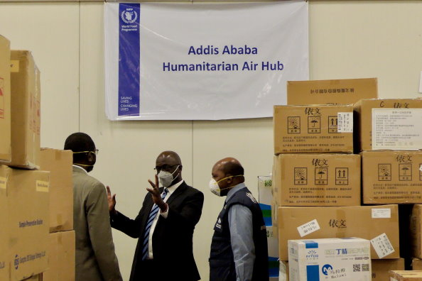 Photo: WFP/Edward Johnson. Representatives from Africa Centers for Disease Control, WFP, WHO in Ethiopia at the launch of the Addis Ababa Humanitarian Air Hub.