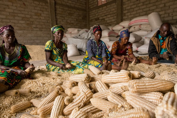 "Photo: WFP/Tara Crossley, Participants in a WFP supported ""Purchase for Progress"" (P4P) program in Bunynagula, DRC."