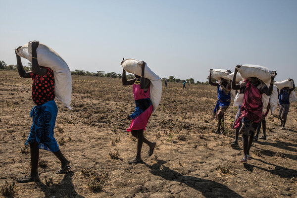 women walk on barren ground carrying bags of food over their head and shoulders