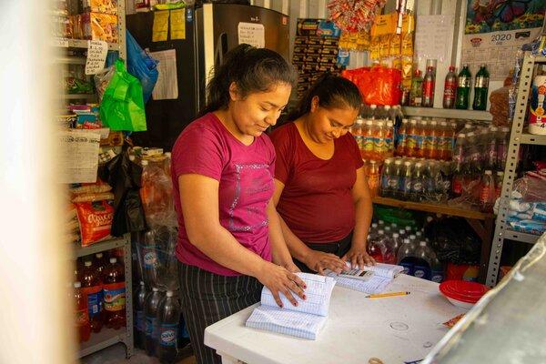 two women in a market