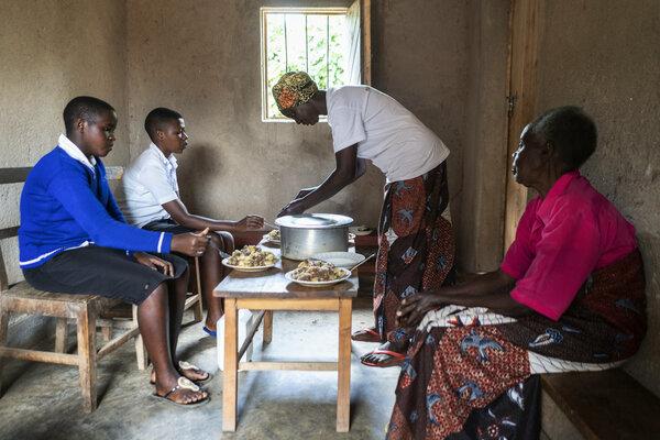 Woman serving food