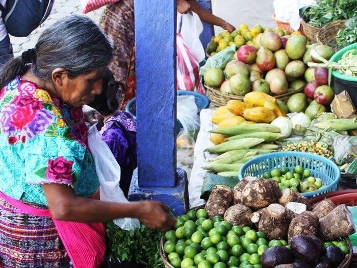 a woman is shopping in the market