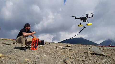 The drones taking on a volcano