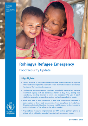 Rohingya Refugee Emergency - Food Security Update, December 2018