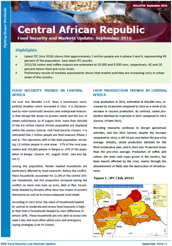 Central African Republic - Food Security and Markets Update