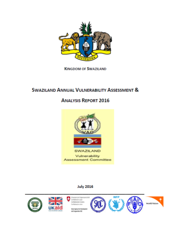 Swaziland - Annual Vulnerability Assessment & Analysis, July 2016