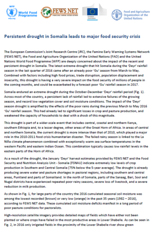 Common Statement WFP/FEWSNET/FAO/JRC: Persistent drought in