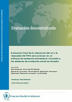 Ecuador, PRRO 200701 and EMOP 200665: an Evaluation