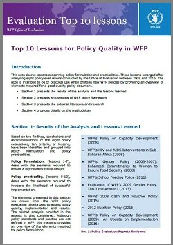 Top 10 Lessons for Policy Quality in WFP | World Food Programme