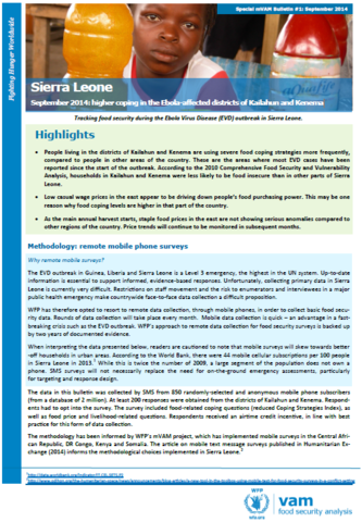 Sierra Leone - Higher Coping in the Ebola-Affected Districts of Kailahun and Kenema, September 2014