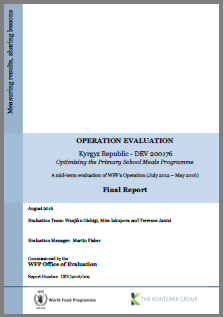 Kyrgyz Republic DEV 200176 Optimising The Primary School Meals Programme: An Operation Evaluation