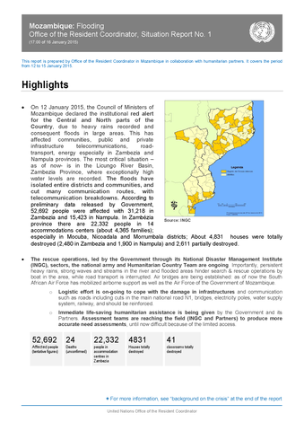 Mozambique Flooding Office Of The Resident Coordinator Situation Report No 1