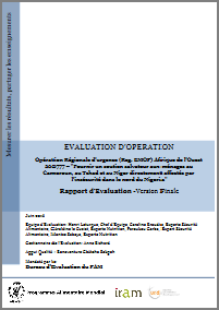 West Africa Regional EMOP 200777 Providing life-saving support to households in Cameroon, Chad, and Niger directly affected by insecurity in northern Nigeria: An Operation Evaluation