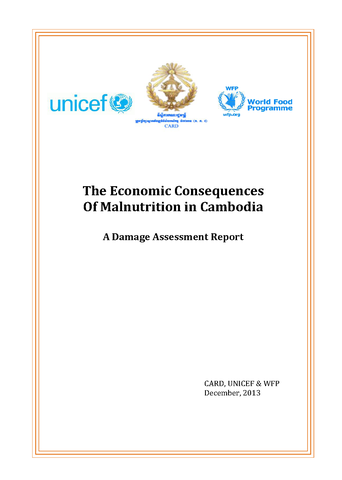 A Damage Assessment Report: The Economic Consequences Of Malnutrition In Cambodia