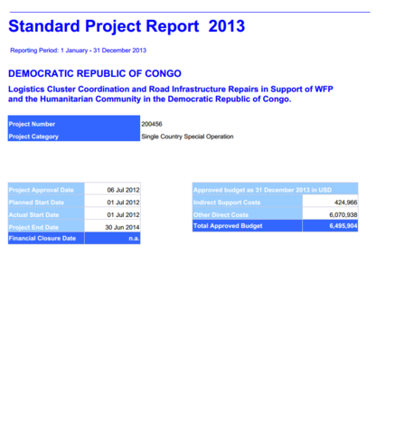 Standard Project Report 2013 | World Food Programme