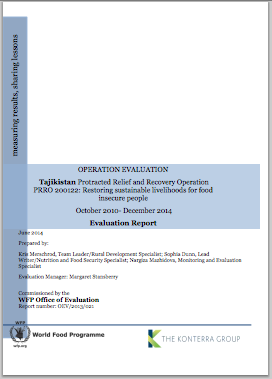 Tajikistan PRRO 200122 Restoring Sustainable Livelihoods for Food-Insecure People: An Operation Evaluation