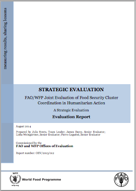 FAO/WFP Joint Evaluation of Food Security Cluster Coordination in Humanitarian Action: A Strategic Evaluation
