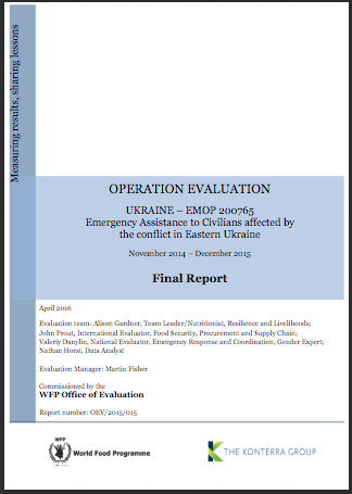 Ukraine EMOP 200765 Emergency Assistance To Civilians Affected By The Conflict in Eastern Ukraine: An Operation Evaluation