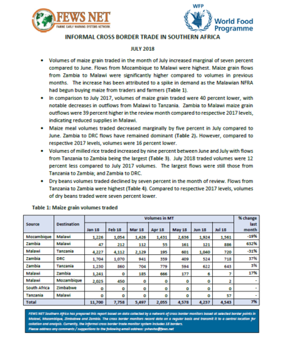 Southern Africa - Informal Cross Border Trade, 2018