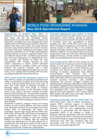 World Food Programme Myanmar: May Operational Report