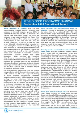 WFP Myanmar: September 2016 Operational Report