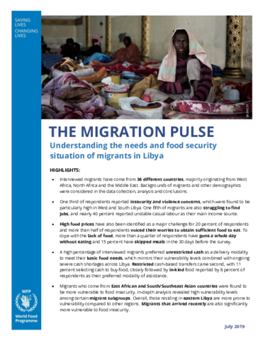 Libya - The Migration Pulse: Understanding the needs and food security situation of migrants in Libya, July 2019
