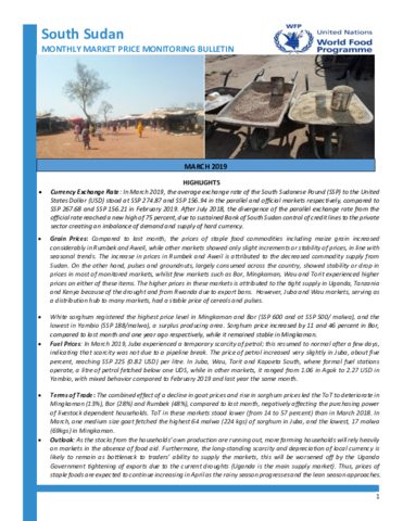 South Sudan - Market Price Monitoring, March 2019