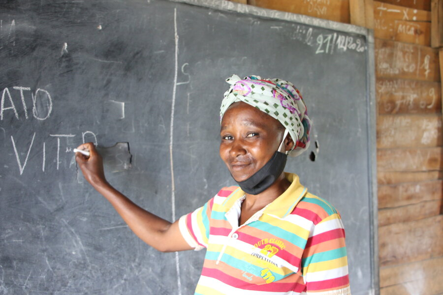 Desanges Kabuya Ndanzi in the classroom where she receives literacy training in DRC