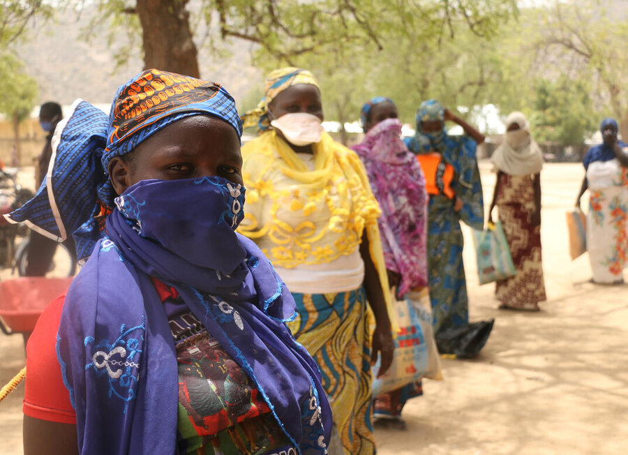A line of beneficiaries in Cameroon