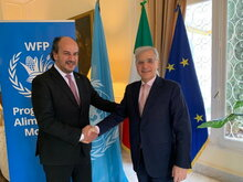 Imed Khanfir, WFP Representative and Country Director in Algeria (left) and His Excellency Pasquale Ferrara, Ambassador of Italy in Algeria (right). Photo: WFP/ Photogallery