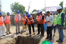 A symbolic groundbreaking ceremony of the Forward Logistic Base, marking the beginning of construction of the base at Nepalgunj airport in Western Nepal
