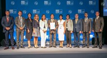 Photo: UTU /Daniel Woldu, Mr Houlin Zhao, Secretary General, International Telecommunication Union (ITU) and Enrica Porcari, Chief Information Officer, WFP at the Crisis Connectivity Charter signing ceremony