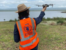 The UN agency started building drone capacity in 2017 (training pictured, Mozambique, December 2020). In 2019, following Cyclone Idai in Mozambique, it deployed drones for the first time in an emergency response to conduct rapid post-disaster assessments as well as coordinate with national officials and partners on the ground. WFP/INGC/Antonio Jose Beleza