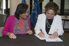 Photo: WFP/Rein Skullerud, WFP Assistant Executive Director, Valerie Guarnieri, and ECW Director, Yasmine Sherif, today signed a MOU at WFP's headquarters in Rome