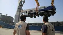 Four USAID-Funded Mobile Cranes Arrive At Yemen's Largest Red Sea Port