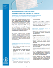 WFP India - Recommended Actions for Food  Distribution in the Context of COVID-19