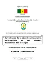 Senegal - Surveillance de la sécurité alimentaire, nutritionnelle et des moyens d'existence des ménages, Octobre 2016