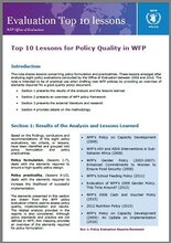 Top 10 Lessons for Policy Quality in WFP