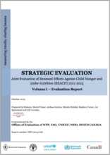 WFP/FAO/UNICEF/WHO/DFATD Canada Joint Evaluation of Renewed Effort Against Child Hunger and Under-nutrition (REACH): A Strategic Evaluation