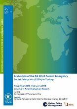 Turkey, ECHO funded Emergency Social Safety Net: an evaluation