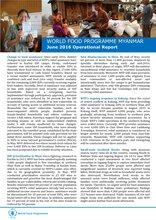 WFP Myanmar: June 2016 Operatioanl Report