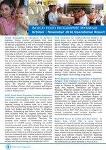 WORLD FOOD PROGRAMME MYANMAR  October - November 2016 Operational Report