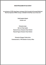 Zimbabwe, Lean Season Assistance of the PRRO 200453: an evaluation