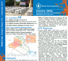 WFP Iraq Situation Report #31, 01 December 2015