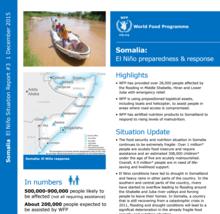 WFP SOMALIA EL NINO RESPONSE EXTERNAL SITUATION UPDATE #3, 01 DECEMBER 2015