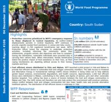 WFP South Sudan External Situation Report #106, 04 December 2015