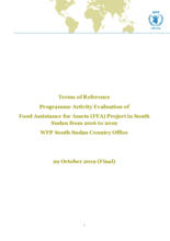 South Sudan, Food Assistance for Assets (2016-2019): Evaluation