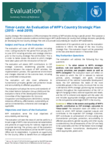 Timor Leste Country Strategic Plan Evaluation