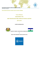 Lesotho Asset Creation and Public Works Activities: Evaluation